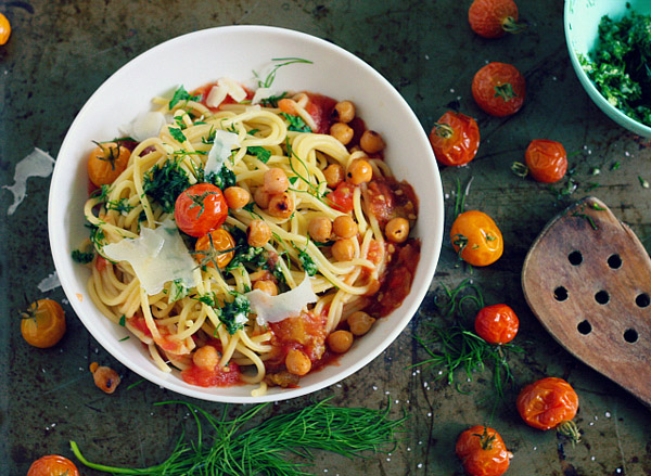 Roasted Tomato Spaghetti with Crispy Chickpeas and Dill from Bird and Cleaver