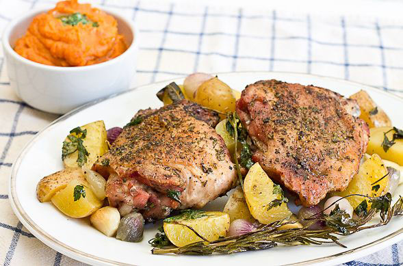Herb Roasted Turkey Thighs from Wishful Chef plus 9 other Thanksgiving turkey recipes