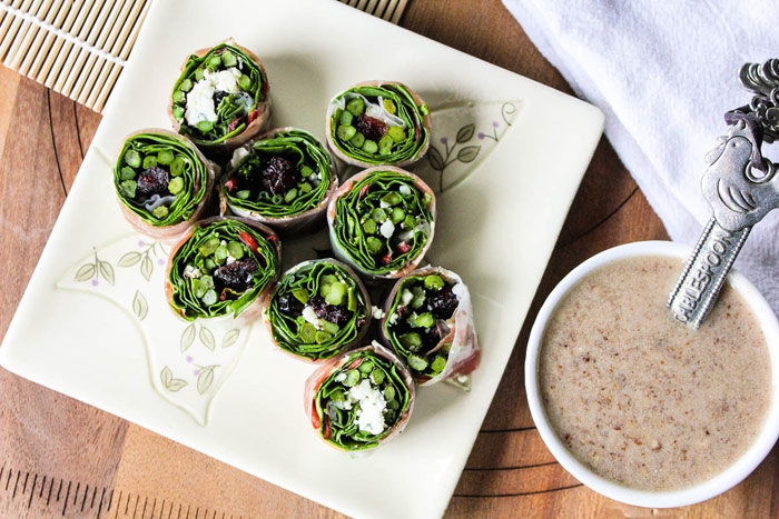 Rolled Salad Bites with Toasted Pecan Vinaigrette