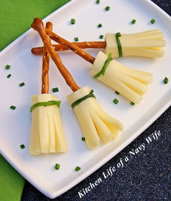 Pretzel Cheese Broomsticks from The Kitchen Life of a Navy Wife plus 10 other Foodie Halloween Projects for Kids