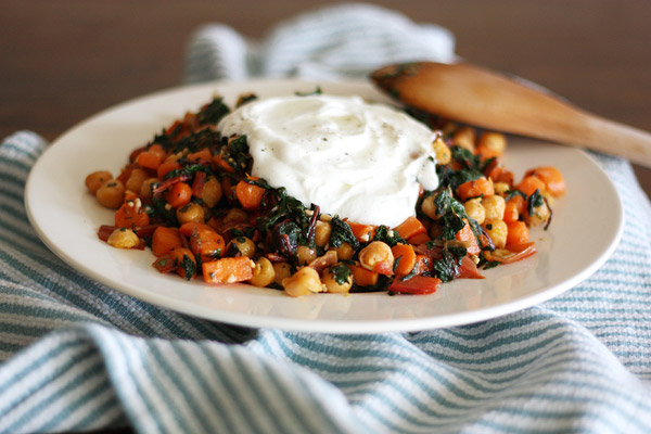 Chickpea Saute with Greek Yogurt from Girl Versus Dough