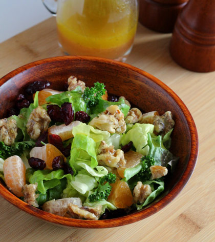 Winter Salad with Clementine Dressing and Candied Walnuts