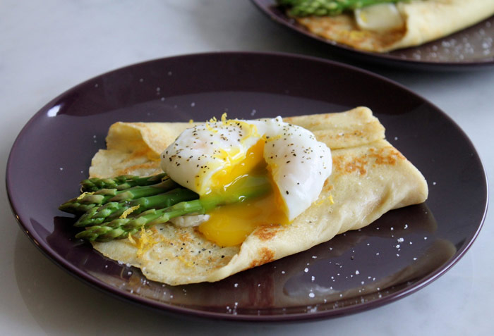 Asparagus and Brie Crepe with Poached Egg