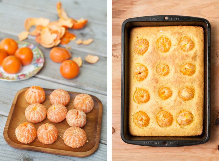 Clementine Cake with whole clementines pressed in