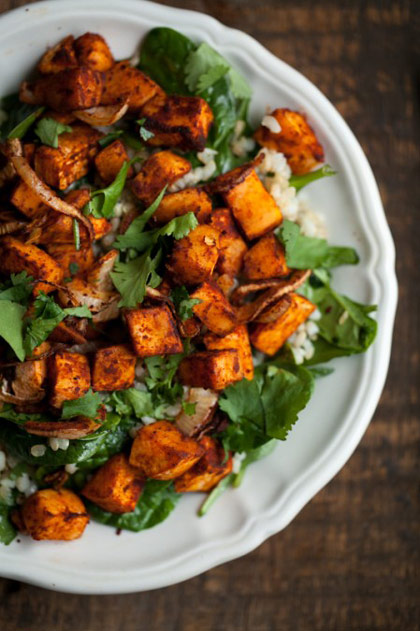 Roasted Sweet Potato and Spinach Grain Salad Recipe