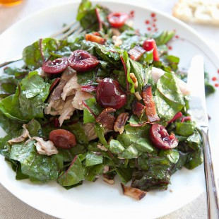 Warm Chard Salad with Bacon Dressing and Roasted Chicken