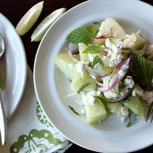 Melon with Lime, Feta, and Mint
