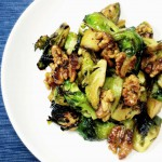 Brussels Sprouts with Candied Walnuts, Apples, and Honey