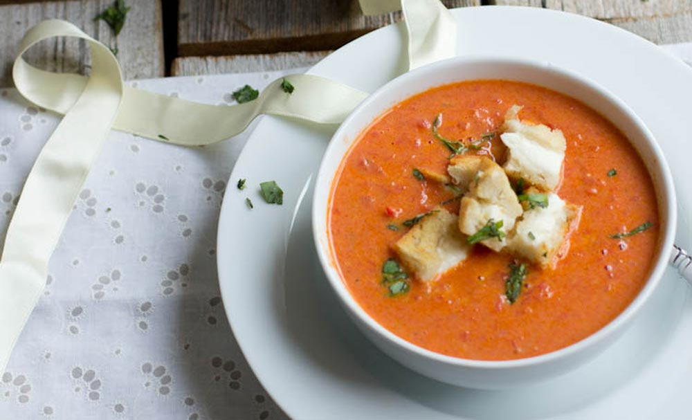 Roasted Tomato Basil Soup with Mini Grilled Cheese Croutons | Recipes