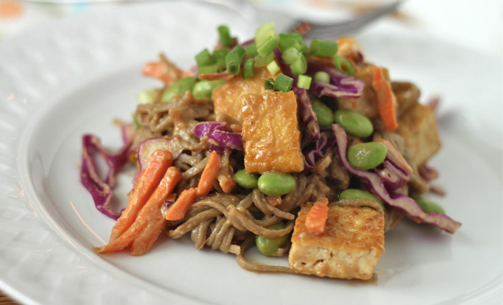 Soba Noodles and Tofu with Spicy Peanut Sauce | Recipes | NoshOn.It