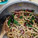 Pasta with Pomegranate, Pistachio, Parmesan, and Purple Kale