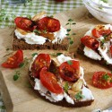 Slow-Roasted Cherry Tomatoes and Garlic with Herbed Ricotta & Balsamic