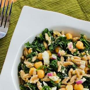 Whole Wheat Orzo Salad with Kale, Chickpeas, Lemon, and Feta