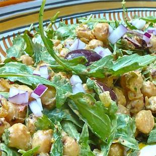 Pan-Fried Chickpea Salad with Curried Yogurt
