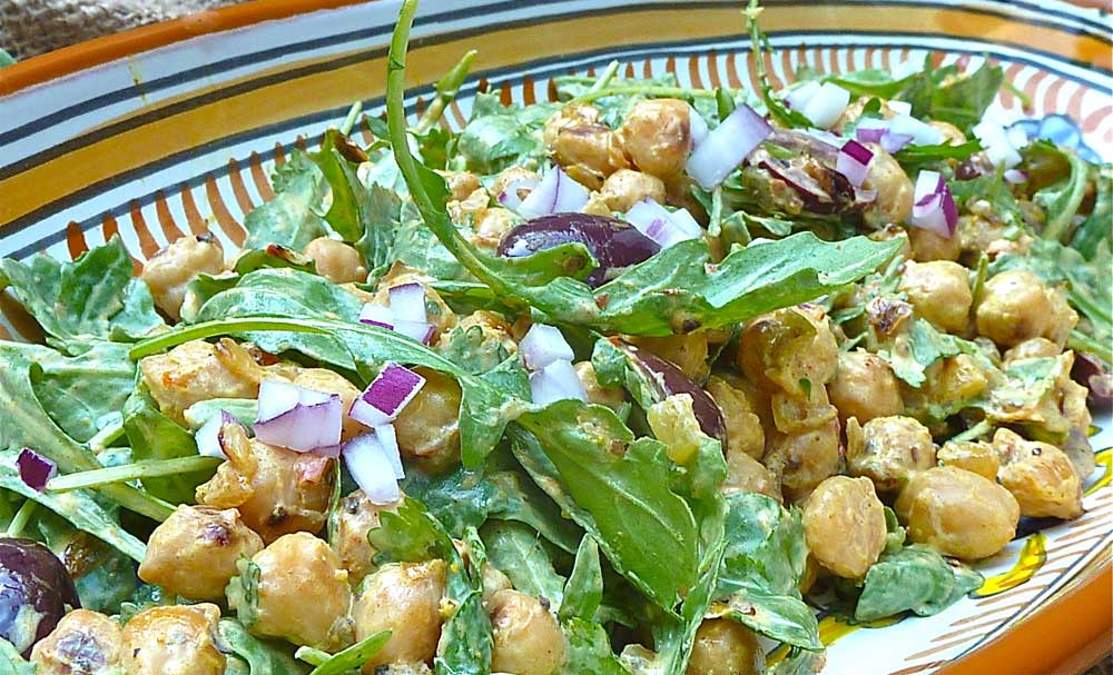 Pan-Fried Chickpea Salad with Curried Yogurt
