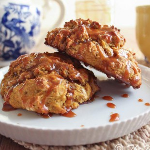 Pumpkin Scones with Caramel Drizzle