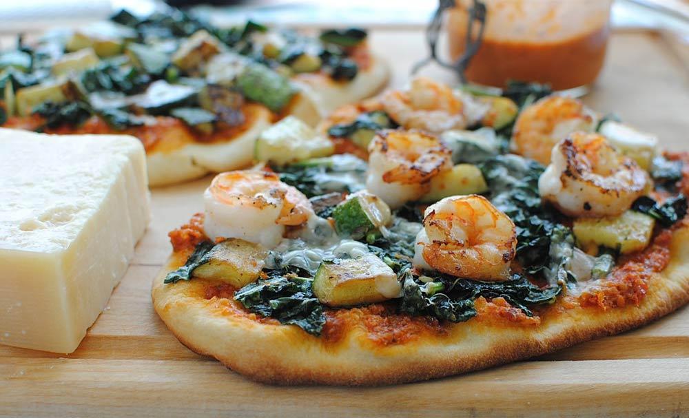 Trapanese Pesto Pizza with Shrimp and Kale | Recipes | NoshOn.It