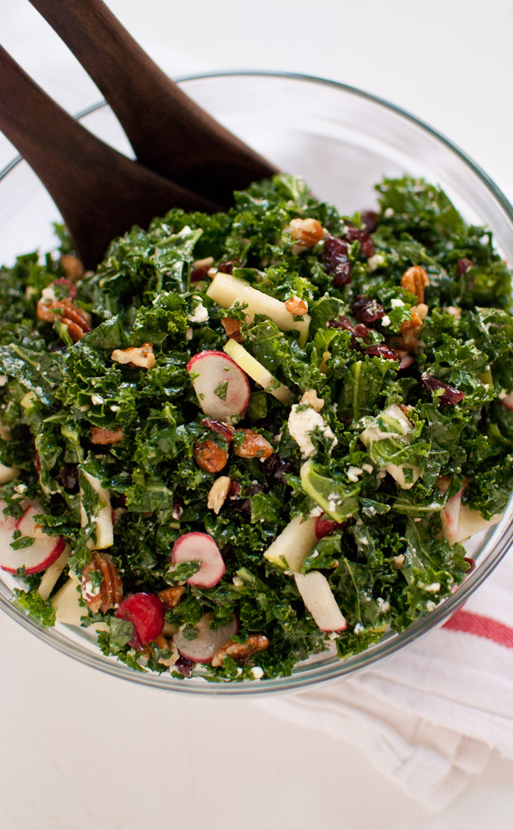 Deb's Kale Salad with Apple, Cranberries and Pecans - we make this salad for almost every dinner party and it's a huge hit! Plus, it's great to make-ahead.