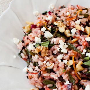 Warm Rice Salad with Chard, Feta, Walnuts, and Blood Orange