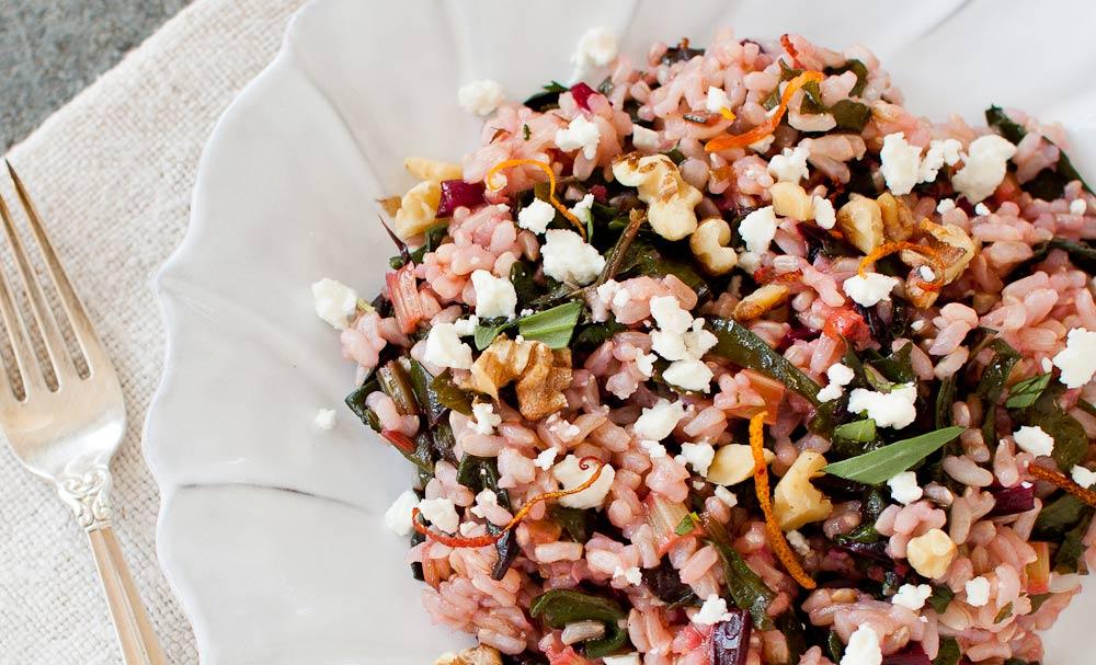 Warm Rice Salad with Chard, Feta, Walnuts, and Blood Orange