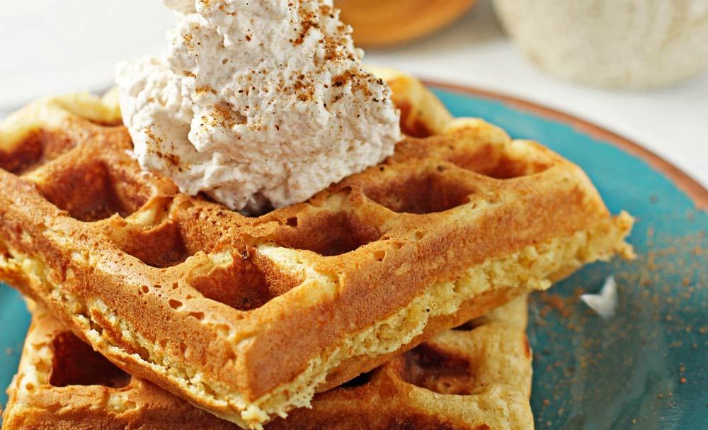 Eggnog Waffles with Cinnamon Whipped Cream