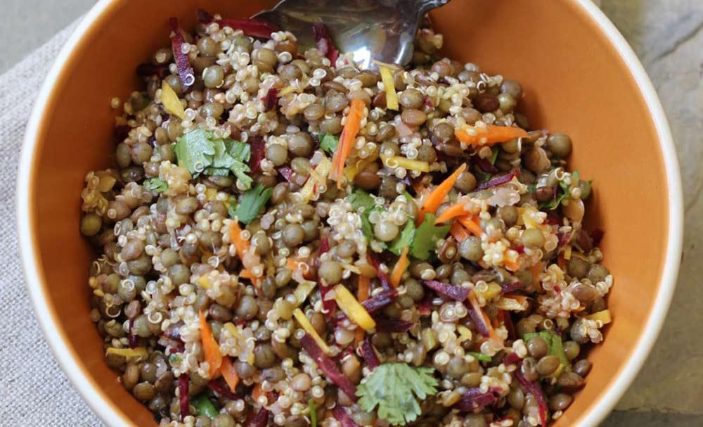 Quinoa Lentil Salad with Ginger Curry Vinaigrette