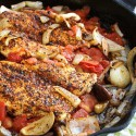 Cajun Chicken with Shiitake, Braised Tomato, and Onion