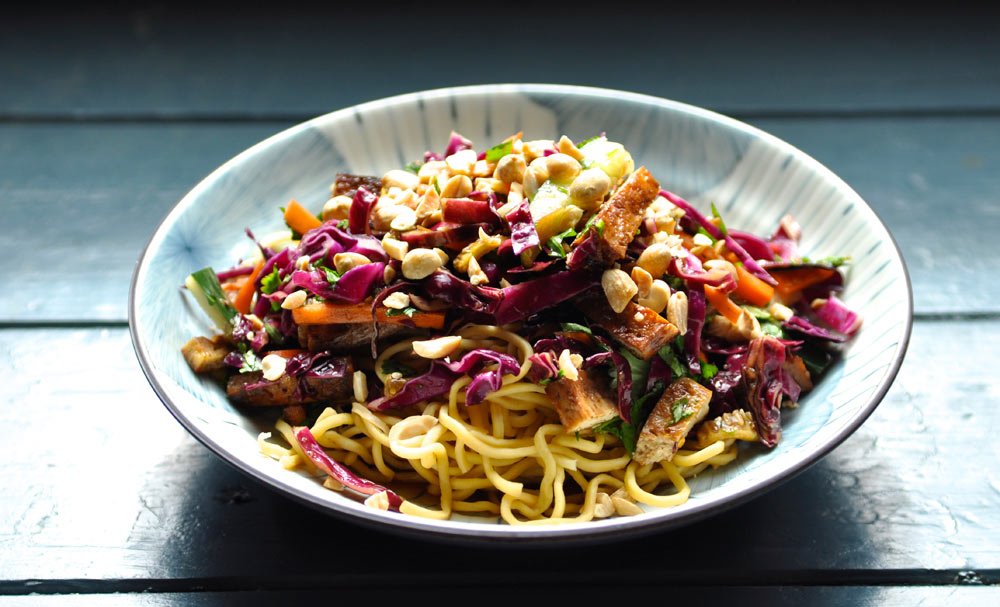 Noodle Salad with Baked Tofu