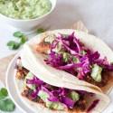 Salmon Tacos with Avocado-Tomatillo Salsa