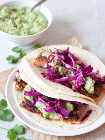 Salmon Tacos with Avocado-Tomatillo Salsa