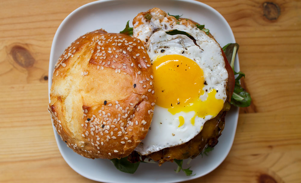 Black Bean Cheeseburger with Fried Egg