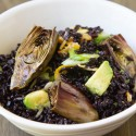 Roasted Baby Purple Artichoke Black Rice Salad with Avocado