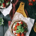 Mini Strawberry Chocolate Tart with Whipped Goat Cheese & Basil (Gluten Free)