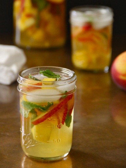 Mango, Mint, and Peach Sangria