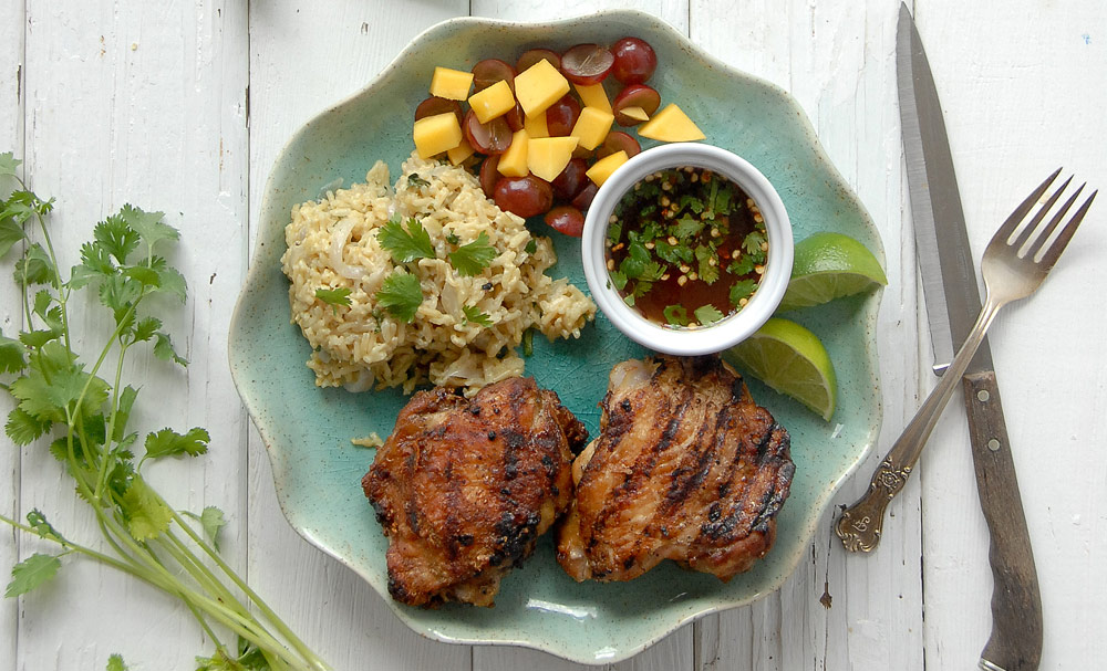 Grilled Thai-Style Chicken Thighs with Sweet-Spicy Dipping Sauce and ...
