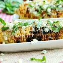 Grilled Corn with Basil and Gorgonzola Cheese