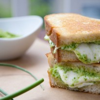 Garlic Scape Pesto and Fresh Mozzarella Grilled Cheese