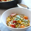 Grilled Corn and Tomato Orzo with White Wine Sauce