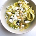 Zucchini Ribbons with Feta, Olives and Pine Nuts