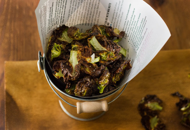 "Brussels Sprouts ""Chips"" - a healthy, low-carb, gluten-free, vegetarian, and delicious snack!"