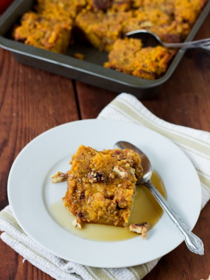 Pumpkin Bread Pudding with Bourbon Maple Sauce
