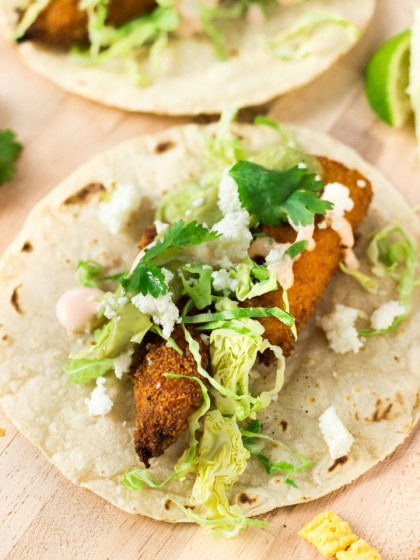 Cap'n Crunch Fish Tacos with Sriracha Crema and Green Salsa
