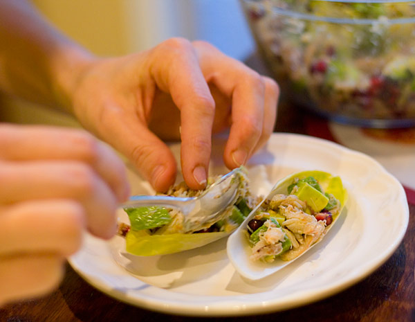 Endive Boats with Avocado, Pomegranate, and Crab Salad Recipe