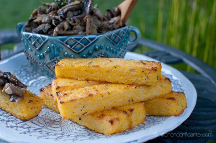 Herbed Polenta Fries with Mushroom Artichoke Fricasse Recipe