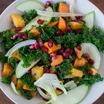 Winter Kale Salad with Kombucha Vinaigrette - a healthy winter salad with roasted root vegetables, fennel, apples, and a tangy dressing