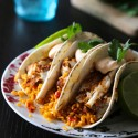Spiced Barramundi Fish Tacos with Spanish Rice and Chipotle Cream