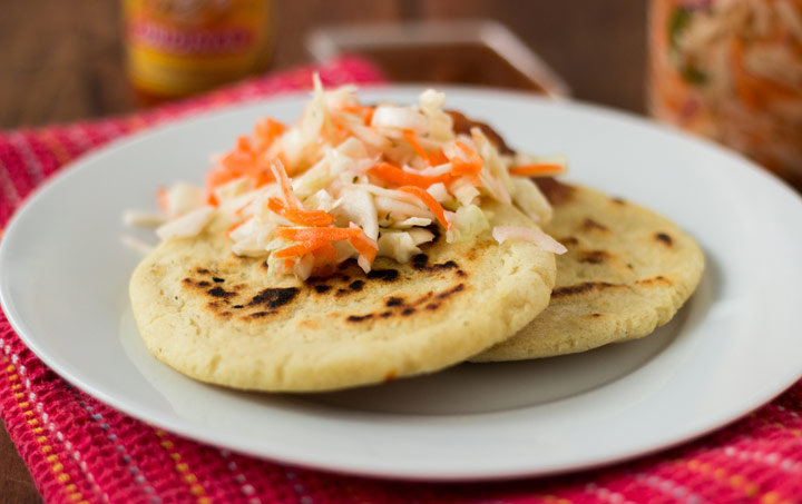Pupusas Revueltas Recipe Pupusas with curtido and salsa