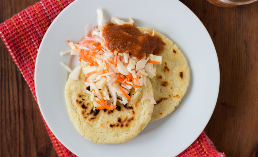 El Salvadoran Pupusas with Curtido and Salsa Roja