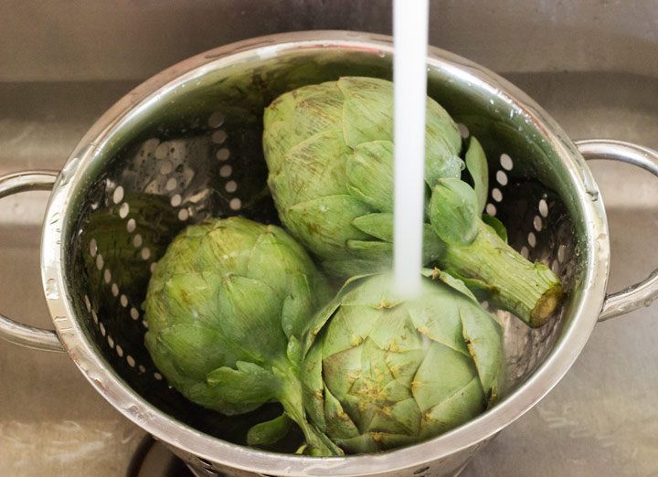 How to Cut Artichokes: Washing Whole Artichokes