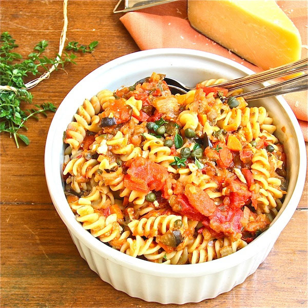 A Bowl of Sicily Goodness: Fusilli with Eggplant, Tomatoes and Capers